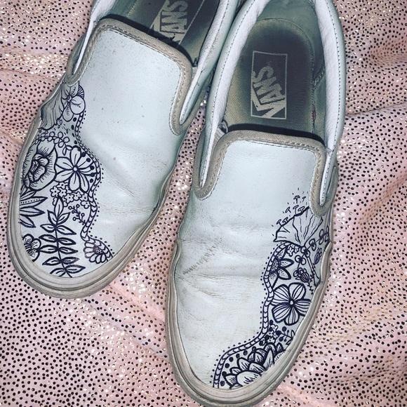 Vans Shoes   Customs Blue Vans   Poshmark